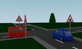 Crossroads with road signs and colored cars. 3d Rendering Stock Photos