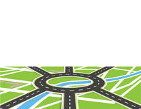 Crossroads of roads with markings. Roundabout Circulation. View in perspective with shadow. Local map. illustration. Crossroads of roads with markings Stock Photo