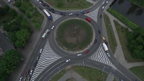 Crossroads roundabout infrostructure driving infrostructure stock video