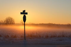 Crossroads. Rural crossroads on a snowy winter's morning royalty free stock photos