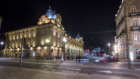 The crossroads with the Sao Bento Railway Station timelapse hyperlapse. The building of station is a popular tourist stock video footage