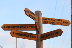 Crossroads Sign in Akaa, Finland. A wooden crossroads sign in Akaa, Finland. Where do you want to go royalty free stock image