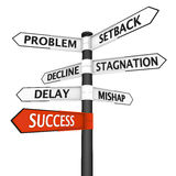 Crossroads sign with direction to success. Crossroads sign with success direction highlighted in red Stock Images