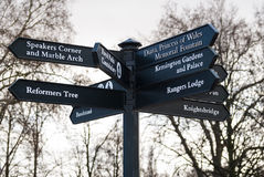 Crossroads sign in Hyde Park in London, England. Crossroads sign with direction to various locations of  Hyde Park, London Royalty Free Stock Photos
