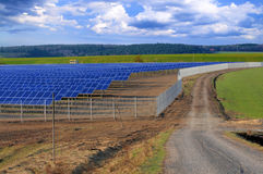 Crossroads at the solar power plant in Germany Stock Photos