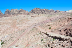 Crossroads in stone waste land of Petra Stock Image