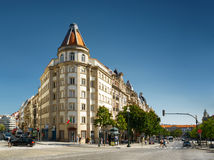 The crossroads of streets and the Avenue of the Allies. PORTO, PORTUGAL - AUGUST 16, 2014: The crossroads of streets and the Avenue of the Allies (Avenida dos royalty free stock photography
