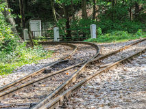 Crossroads. A switch in a narrow gauge railway track Royalty Free Stock Photo