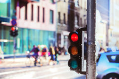 Crossroads with traffic lights in the city Stock Photography