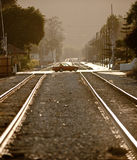 Crossroads At The Train Tracks Stock Photography