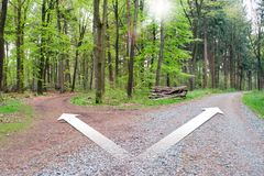 Crossroads two different directions - Choose the correct way. Choose your Path Stock Photo