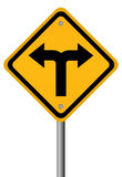 Crossroads two directions sign. Illustration of crossroads sign on white background Royalty Free Stock Photo