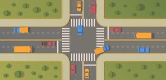 Crossroads of two roads with pedestrian paths, curbs and boards, road markings, grass, bushes and trees. royalty free illustration