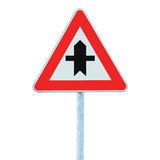 Crossroads Warning Main Road Sign With Pole Post, isolated. Crossroads Warning Main Road Sign With Pole Post isolated royalty free stock photo
