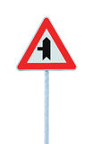 Crossroads Warning Main Road Sign With Pole Post, Left Hand Exit, Vertical Isolated Closeup. Crossroads Warning Main Road Sign With Pole Post, Left Hand Exit Royalty Free Stock Images