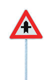 Crossroads Warning Main Road Sign Triangle, Pole Post, large detailed isolated closeup Stock Image