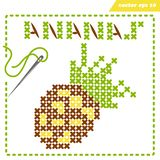 Crosstiched simple ananas with framle and needle. Simple vector embroidery scheme with crosstiched ananas for children and adults. Pixelart. Frame with needle royalty free illustration
