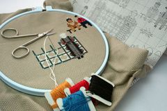 Crosstitch in progress. Cross stitch with accessories royalty free stock image