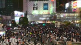 Crosswalk пешеходов на районе Shibuya в токио, Японии сток-видео