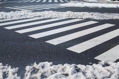 Crosswalk с снегом внутри, Иокогама, токио, Япония Стоковые Фото