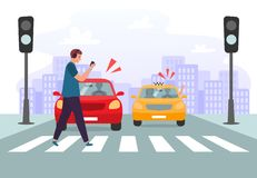 Free Crosswalk Accident. Pedestrian With Smartphone And Headphones Crossing Road On Red Traffic Lights, Road Safety Vector Stock Photo - 161574850