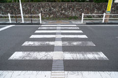 Crosswalk across the street which has no barrier Royalty Free Stock Photography