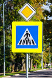 Crosswalk ahead! Be aware!. Photo shows crosswalk sign in the city. Drivers must be very careful on the road, because of people who walks over the road royalty free stock photography