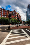 Crosswalk and buildings on a street in Boston, Massachusetts. Stock Photography