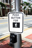 Crosswalk Button. Button and sign at crosswalk Stock Images