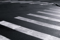 Crosswalk on city street closeup black and white view. Streets of Minsk city Royalty Free Stock Photos