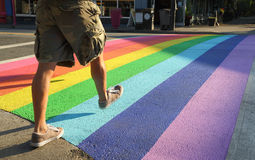 Crosswalk Colors, Gay Pride, Vancouver Royalty Free Stock Image