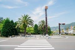 Crosswalk i drzewka palmowe w Nagasaki, Japonia fotografia royalty free