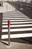 Crosswalk markings painted on asphalt in the city Stock Photography