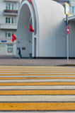 Crosswalk in a Moscow city. Crosswalk across the street about metro. focus is on the near-point. Moscow Russia Royalty Free Stock Image