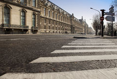 The crosswalk on the old street of Paris Royalty Free Stock Photos