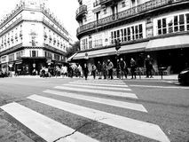 The crosswalk in Paris. The street in Paris, France Royalty Free Stock Photography