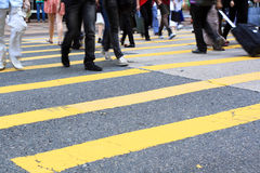 Crosswalk and pedestrian. At street in hong kong Royalty Free Stock Image