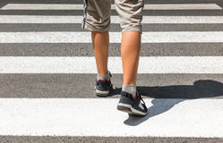 Crosswalk. Pedestrian on road. Crosswalk. Pedestrian running on road Royalty Free Stock Image
