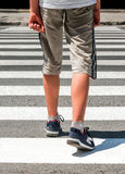 Crosswalk. Pedestrian on road. Crosswalk. Pedestrian running on road Royalty Free Stock Photos