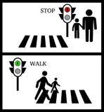 Crosswalk, przerwa, Pedestrain i światła ruchu na białym tle, royalty ilustracja