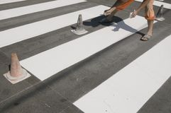 Crosswalk repairing Stock Image