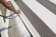 Crosswalk repairing Stock Photography