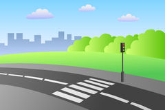 Crosswalk road landscape summer day illustration Stock Image