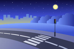 Crosswalk road landscape summer night illustration Stock Photo