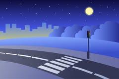 Crosswalk road landscape summer night illustration Stock Photo