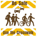 Crosswalk safety. Sign pedestrians and traffic on white illustration royalty free illustration