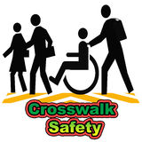 Crosswalk safety. People in a crosswalk poster assorted colors illustration royalty free illustration
