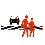 Crosswalk safety. Pedestrians in a crosswalk with traffic white background royalty free illustration