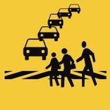 Crosswalk safety. Pedestrians in a crosswalk with traffic gold background stock illustration