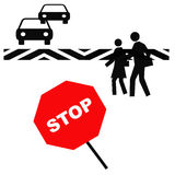 Crosswalk safety. Pedestrians in a crosswalk with red stop sign illustration royalty free illustration